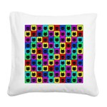 Rainbow Square Cat Pattern Square Canvas Pillow