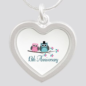 13th Wedding Anniversary Gift Silver Heart Necklac