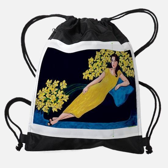Study in Blue Drawstring Bag