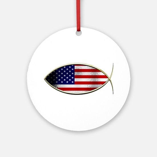 Ichthus - American Flag Ornament (Round)