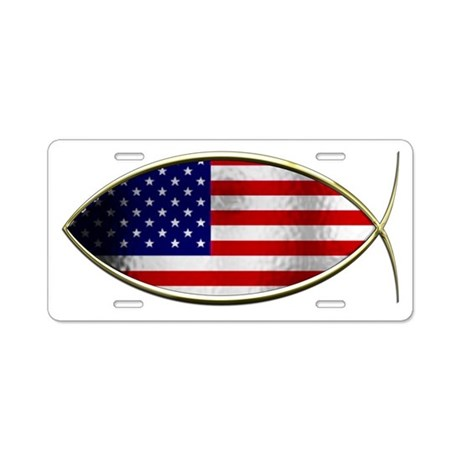 Ichthus - American Flag Aluminum License Plate