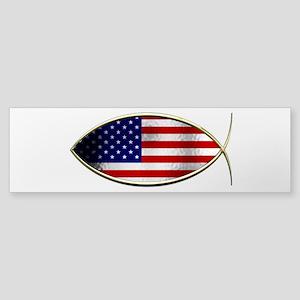 Ichthus - American Flag Bumper Sticker
