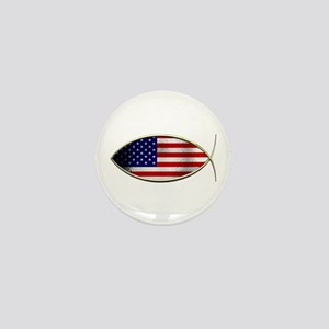 Ichthus - American Flag Mini Button