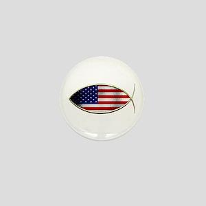Ichthus - American Flag Mini Button
