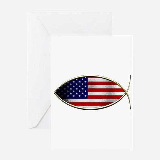 Ichthus - American Flag Greeting Card