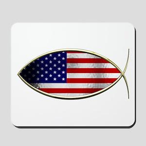 Ichthus - American Flag Mousepad