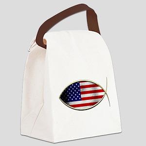 Ichthus - American Flag Canvas Lunch Bag