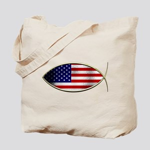 Ichthus - American Flag Tote Bag