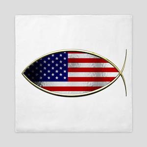 Ichthus - American Flag Queen Duvet