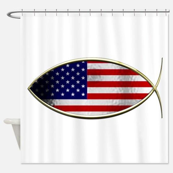 Ichthus - American Flag Shower Curtain