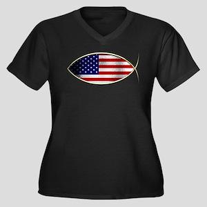 Ichthus - American Flag Plus Size T-Shirt