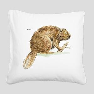 Beaver Animal Square Canvas Pillow