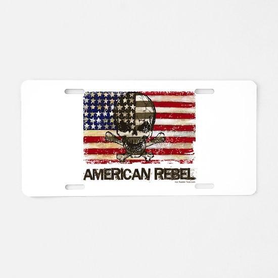Flag-painted-American Rebel-3 Aluminum License Pla