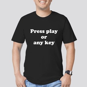 Press play or any key Men's Fitted T-Shirt (dark)