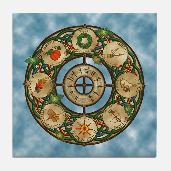 Celtic Wheel of the Year Tile Coaster