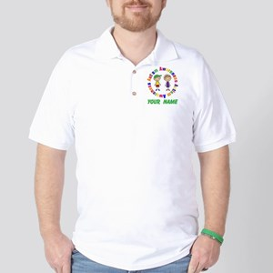 Personalized Autism Stick Figure Golf Shirt