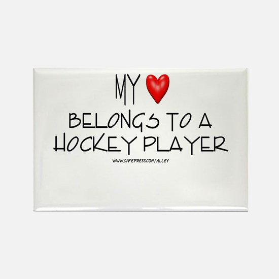 My Heart Hockey Rectangle Magnet