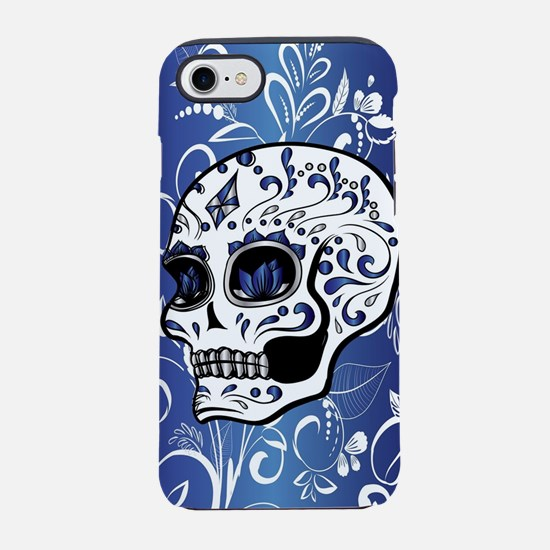 Whimsical sapphire blue and wh iPhone 7 Tough Case