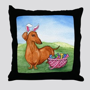 Easter Wiener Dog Throw Pillow