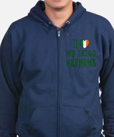 I Love My Irish Grandma Zip Hoodie (dark)