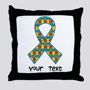 Personalized Autism Puzzle Ribbon Throw Pillow