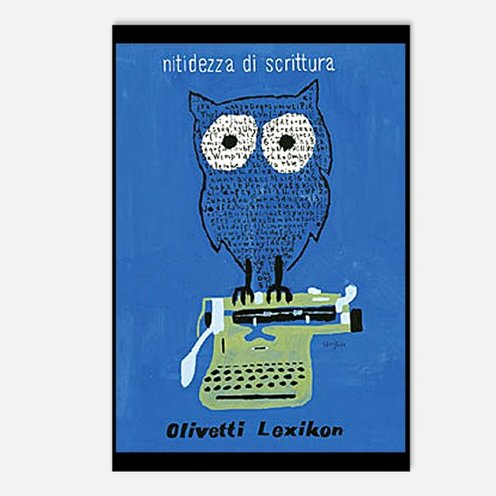 typewriter owl Postcards (Package of 8)