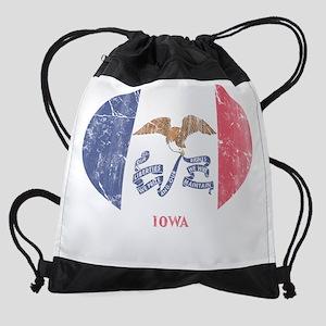 Vintage Iowa Flag Heart Drawstring Bag