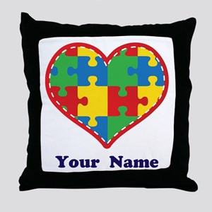 Personalized Autism Puzzle Heart Throw Pillow