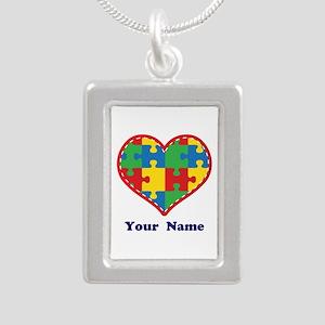 Personalized Autism Puzzle Heart Silver Portrait N