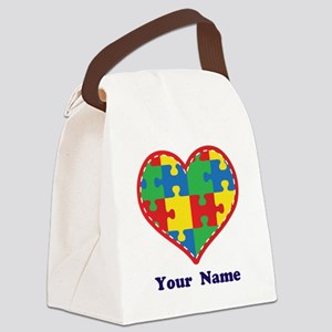 Personalized Autism Puzzle Heart Canvas Lunch Bag