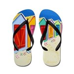 Colorful Beach Cabana Hut Flip Flops