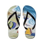 Vintage French Beach Poster Flip Flops
