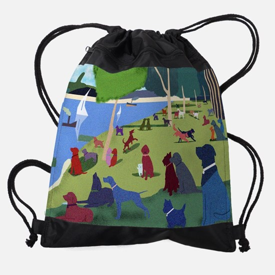 Sunday in the Park with Dogs Drawstring Bag