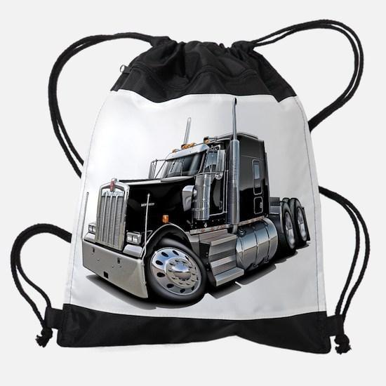 Kenworth w900 Black Truck.png Drawstring Bag