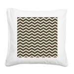 Brown Cocoa Chevron Square Canvas Pillow