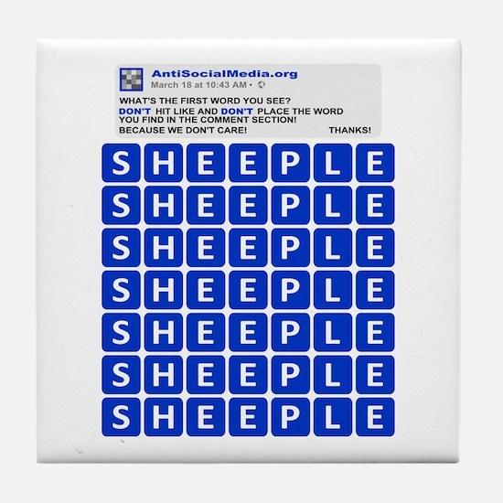 Anti Social Media Word Find Tile Coaster