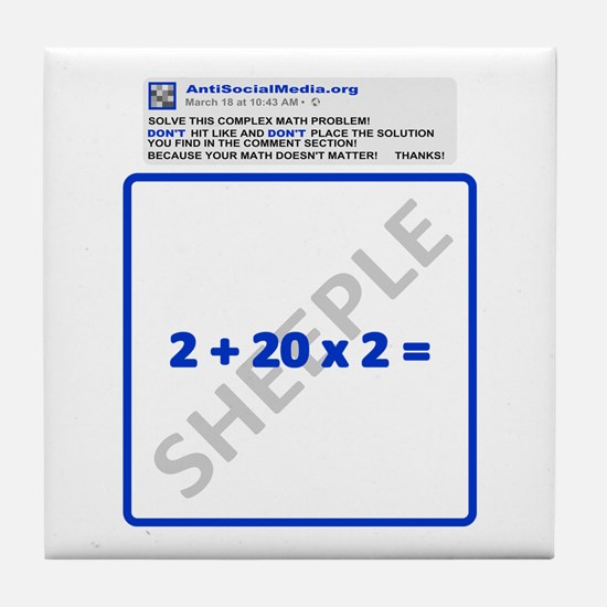 Anti Social Media Math Problem Tile Coaster