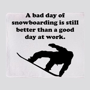 A Bad Day Of Snowboarding Throw Blanket