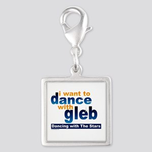 I Want to Dance with Gleb Silver Square Charm