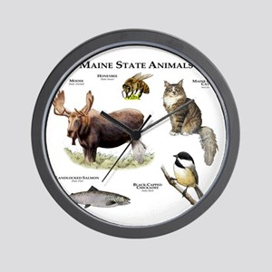 Maine State Animals Wall Clock