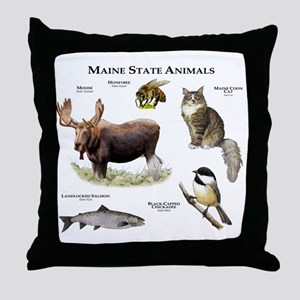Maine State Animals Throw Pillow