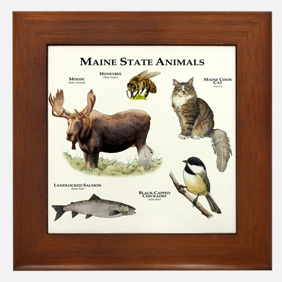 Maine State Animals Framed Tile