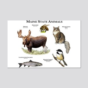 Maine State Animals Mini Poster Print