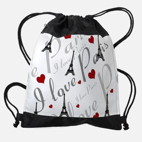 Stylish Personalizable I LOVE PARIS Drawstring Bag