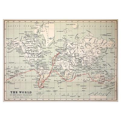 Map Darwin's Beagle Voyage South America Poster