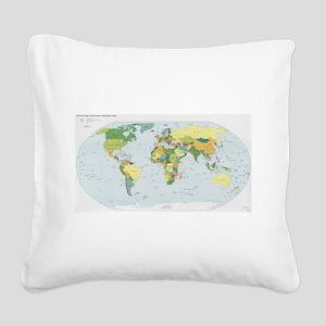 World Atlas Square Canvas Pillow
