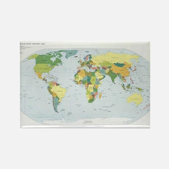 World Atlas Rectangle Magnet