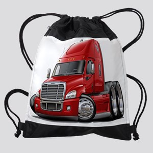 Freightliner Cascadia Red Truck.png Drawstring Bag