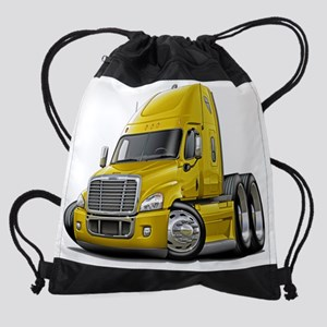 Freightliner Cascadia Yellow Truck. Drawstring Bag