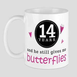 14th Anniversary Butterflies Mug
